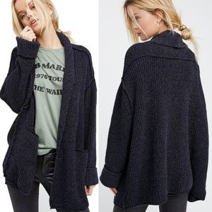 Free People Low Tide Cardigan Slouchy Black Plush
